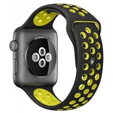 Спортивный силиконовый браслет для Apple Watch 42mm Hoco Sporting Black and Yellow