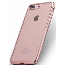 Силиконовый чехол со стразами розовый