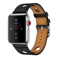 Apple Watch Hermes 42 mm Stainless Steel Case / Noir Gala Leather Single Tour Rallye