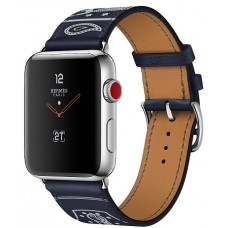 Apple Watch Hermes 42 mm Stainless Steel Case / Marine Gala Leather Single Tour Eperon d'Or