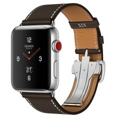 Apple Watch Hermes 42 mm Stainless Steel Case / Ébène Barenia Leather Single Tour Deployment Buckle