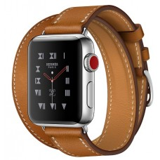 Apple Watch Hermes 38 mm Stainless Steel Case / Fauve Barenia Leather Double Tour