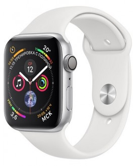 Apple Watch Series 4 44mm Silver / Sport White - фото 1